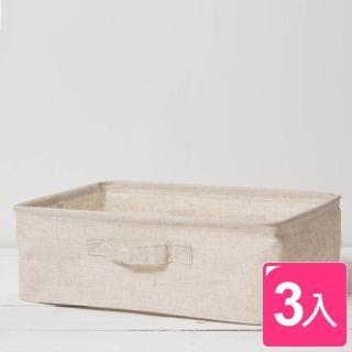 【真心良品】森活棉麻收納盒 中(3入)  真心良品