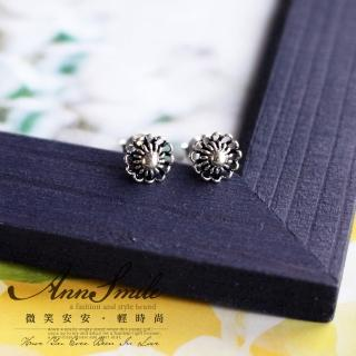 【微笑安安】銀黑細緻花朵925純銀耳環  微笑安安