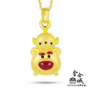【Disney 迪士尼】Tsum Tsum 堆疊款 熊抱哥與三眼怪 黃金墜飾(買就送米奇娃娃或美妮娃娃乙隻!)  Disney 迪士尼
