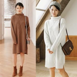 【MsMore】高領羊絨手感菱形毛織洋裝101396(2色)  MsMore