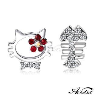 【AchiCat】不對稱耳環耳針式 甜心貪吃貓 貓咪 G562  AchiCat