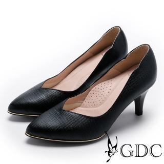 【GDC】V字曲線金屬底尖頭真皮中跟鞋-黑色(721830)   GDC