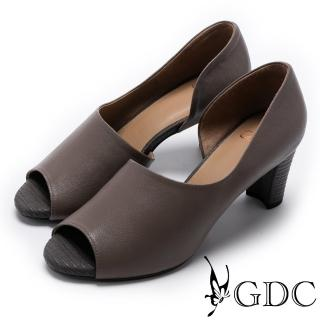 【GDC】都會質感羊皮溫柔造型魚口鞋-灰色(721834)  GDC
