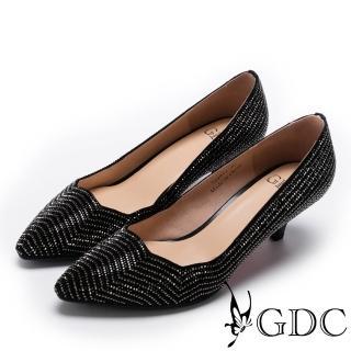 【GDC】高雅波浪形鑲嵌水鑽中跟尖頭鞋-黑色(724952)  GDC