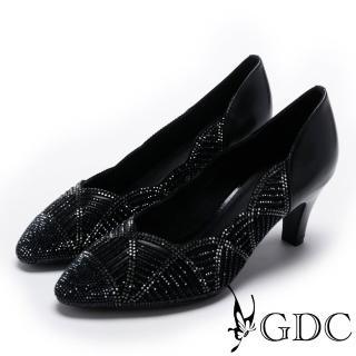 【GDC】側邊波浪交叉幾何水鑽低跟尖頭鞋-黑色(724965)   GDC