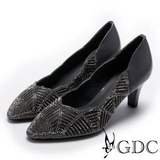 【GDC】側邊波浪交叉幾何水鑽低跟尖頭鞋-灰色(724965)  GDC