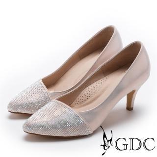 【GDC】真皮典雅水鑽低跟尖頭鞋-粉色(727153)  GDC