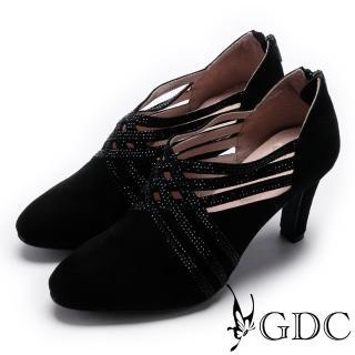 【GDC】典雅羊絨交叉水鑽跟鞋-黑色(729135)   GDC