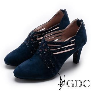 【GDC】典雅羊絨交叉水鑽跟鞋-藍色(729135)   GDC