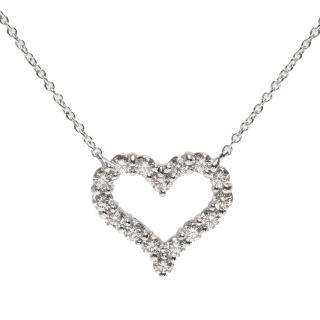 【Tiffany&Co. 蒂芙尼】經典HEARTS系列切割真鑽鑲嵌心型吊墜鉑金項鍊(小-銀12976542)  Tiffany&Co. 蒂芙尼