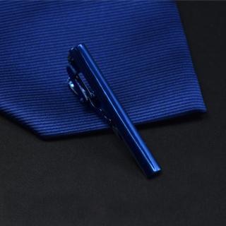 【拉福】領帶夾窄版領帶夾窄領夾亮槍面(藍4.3cm)   拉福