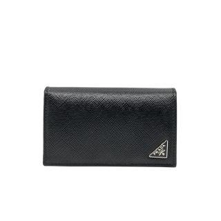 【PRADA 普拉達】2MC122 黑 小三角牌(扣式錢包/卡夾)  PRADA 普拉達