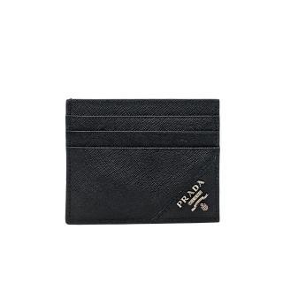 【PRADA 普拉達】2MC223 黑 經典印字(扁式卡夾)  PRADA 普拉達