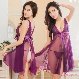 【Anna Mu】性感睡衣 魅惑紫深V前後開襟薄紗二件式睡衣  Anna Mu