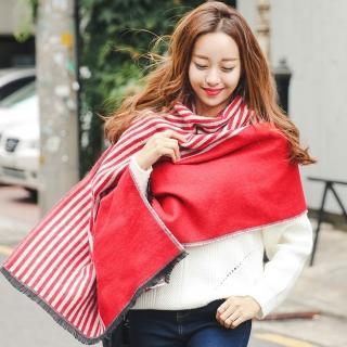 【梨花HaNA】韓國簡潔俐落OL雙面直紋流蘇圍巾披肩   梨花HaNA