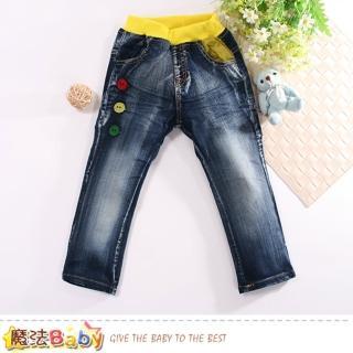 【魔法Baby】兒童牛仔褲 帥氣水洗紋牛仔長褲(k60628)  魔法Baby