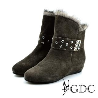 【GDC】質感水鑽側帶真皮兔毛中筒靴-灰色(428429)   GDC