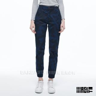 【EAR EAST】女款 彈性束口休閒褲(迷彩藍)  EAR EAST