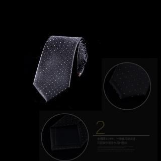 【拉福】領帶窄版領帶6cm點點領帶拉鏈領帶(黑底白點)  拉福