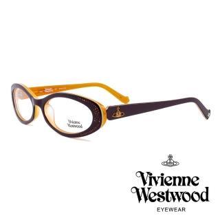 【Vivienne Westwood】英國薇薇安魏斯伍德★閃亮時尚晶鑽光學眼鏡(深紫/橘 VW150M04)   Vivienne Westwood
