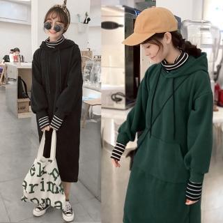 【MsMore】大口袋假兩件連帽加絨洋裝101028(2色)   MsMore