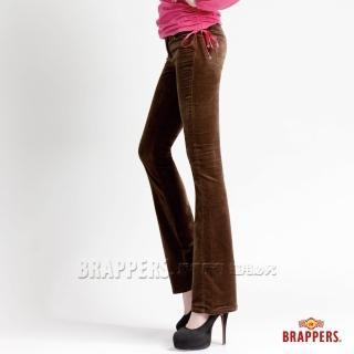 【BRAPPERS】女款 彈性平面絨鑲鑽小喇叭褲(深綠)  BRAPPERS