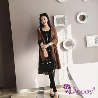 【Decoy】雙色親膚*雙面仿羊絨披肩圍巾/咖啡  Decoy