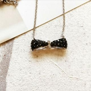 【DoriAN】黑白亮鑽大蝴蝶結鎖骨項鍊(925純銀 鑲CZ鑽)  DoriAN