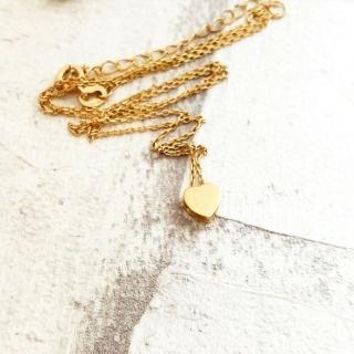 【DoriAN】迷你愛心鎖骨項鍊(925純銀 鍍18K金)  DoriAN