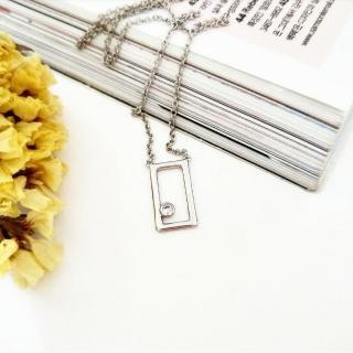 【DoriAN】經典方塊鑲鑽鎖骨項鍊(925純銀 鑲CZ鑽)   DoriAN