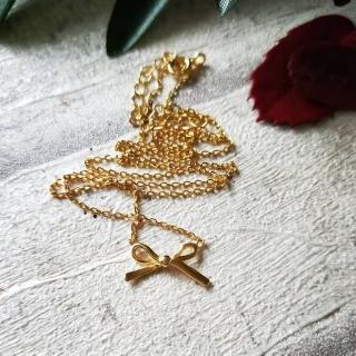 【DoriAN】立體蝴蝶結鎖骨項鍊(925純銀 鍍18K金)  DoriAN