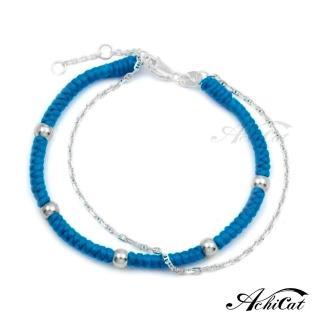 【AchiCat】蠶絲蠟繩幸運手鍊 925純銀 五福臨門 雙鍊手鍊 HS6083(藍色)  AchiCat
