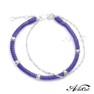 【AchiCat】蠶絲蠟繩幸運手鍊 925純銀 五福臨門 雙鍊手鍊 HS6083(紫色)  AchiCat