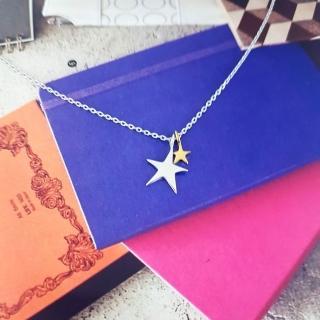 【DoriAN】金銀雙星奇緣鎖骨項鍊(925純銀 鍍18K金)  DoriAN