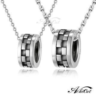 【ATeenPOP】情侶對鍊 925純銀項鍊 愛不單行 格紋滾輪 CS7073  ATeenPOP