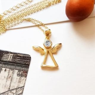 【DoriAN】天使之鑽鎖骨項鍊(925純銀 鍍18K金 鑲CZ鑽)  DoriAN