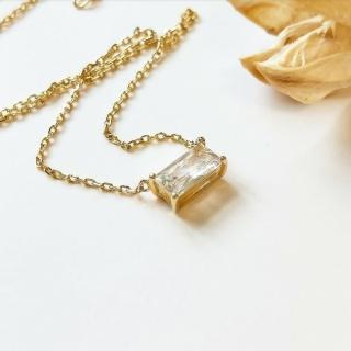 【DoriAN】方鑽鎖骨項鍊(925純銀 鍍18K金 鑲CZ鑽)   DoriAN
