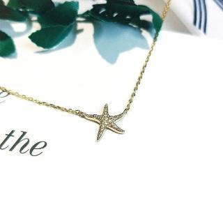 【DoriAN】海星鑲鑽鎖骨項鍊(925純銀 鍍18K金 鑲CZ鑽)   DoriAN