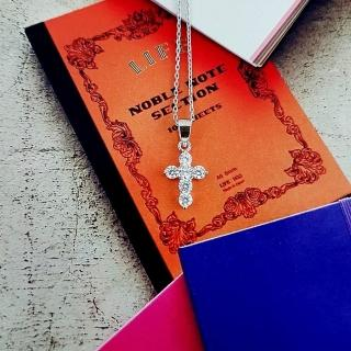 【DoriAN】閃亮十字架鑲鑽鎖骨項鍊(925純銀 鍍18K金 鑲CZ鑽)  DoriAN