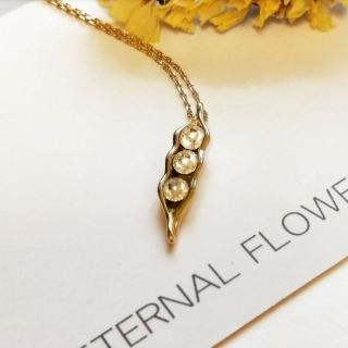 【DoriAN】獨家豌豆鑲鑽造型鎖骨項鍊(925純銀 鍍18K金 鑲CZ鑽)   DoriAN