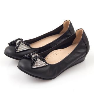 【GMS】MIT系列-牛皮鑽飾串珠蝴蝶結小坡跟鞋(華麗銀)   GMS