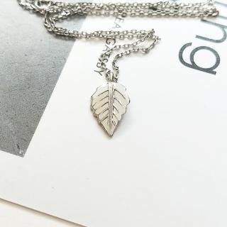 【DoriAN】歐美祈願銀葉子鎖骨項鍊(925純銀)   DoriAN