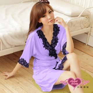 【Angel 天使霓裳】罩衫 迷人秋緻 柔軟冰絲性感連身睡衣(淺紫F)   Angel 天使霓裳