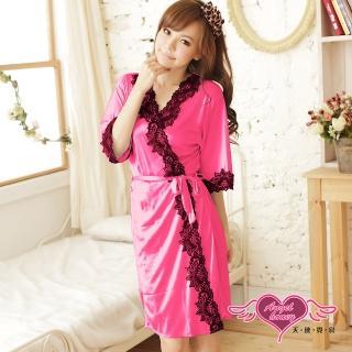 【Angel 天使霓裳】罩衫 迷人秋緻 柔軟冰絲性感連身睡衣(西瓜紅F)   Angel 天使霓裳