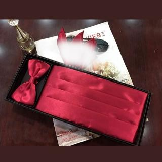 【拉福】新郎結婚男腰帶腰封領結糾糾 腰封+領結(酒紅)   拉福