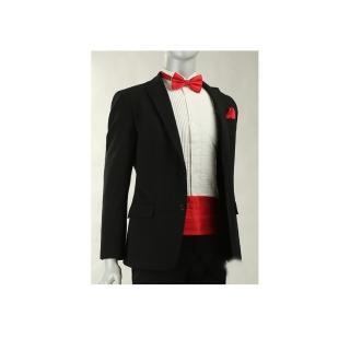 【拉福】新郎結婚男腰帶腰封領結糾糾 腰封+領結+口袋巾(大紅)   拉福