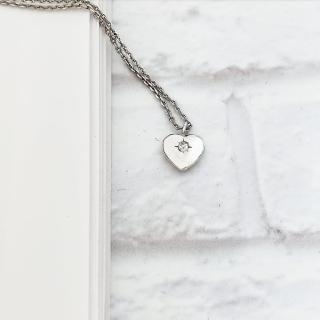 【DoriAN】桃心鑽鎖骨項鍊(925純銀 鑲CZ鑽)   DoriAN