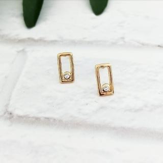【DoriAN】經典方塊鑲鑽純銀耳環(925純銀 鍍18K金 鑲CZ鑽)  DoriAN