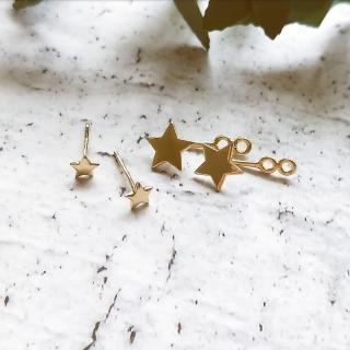 【DoriAN】閃耀金星前後配戴純銀耳環(925純銀 鍍18K金)   DoriAN