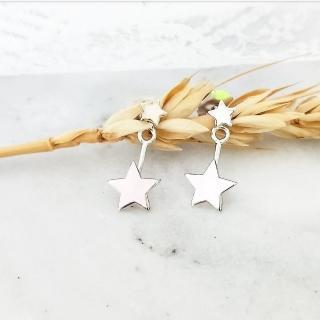 【DoriAN】閃耀銀星星前後配戴純銀耳環(925純銀)  DoriAN